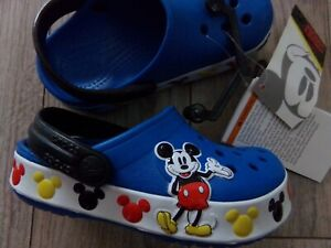 NWT NEW AUTHENTIC CHILDS DISNEY MICKEY MOUSE CROCS SZ 5 BLUE RETAIL $44.99