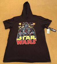 New Star Wars Darth Vader T-Shirt Hoodie Size XL Hood Black Short Sleeve