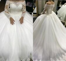 UK White Ivory Long Sleeve Lace Ball Gown Off Shoulder Wedding Dress Size 6-20