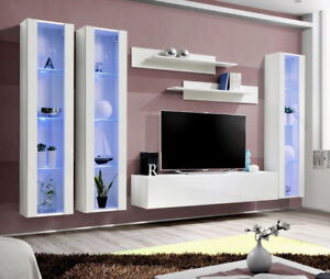 Idea d6 - white contemporary entertainment center / modern tv wall unit
