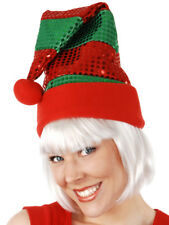 Christmas Elf Hat Sequins Red Green Costume Accessory Fancy Dress Novelty