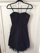BCBG Max Azria Black beaded  Dress With Ostrich Feathers Size 4 retails  for 518