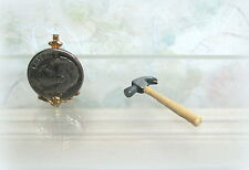 Dollhouse Miniature Metal and Wood Claw Hammer