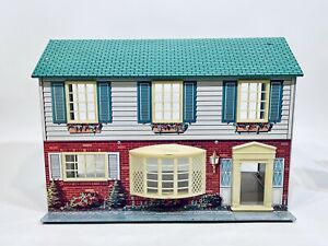 Vintage Wolverine 2 Story Colonial Tin Litho Metal Dollhouse