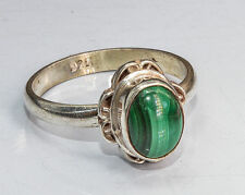 Sterling Silver Traditional Asian Vintage Style Malachite Stone Ring Size N Gift