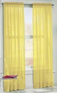 "2PC Sheer Set Voile Rod Pocket Window Panel Curtain Solid Elegance Drapes 84"""