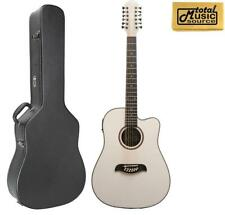 Oscar Schmidt OD312CEWH 12-Strings A/E Guitar - White, W/Case, OD312CEWH CASE