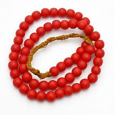 Red Glass Round bead  Necklace Tibet Nepal India UN1684