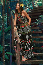 NEW Anthropologie Elevenses Amapa Jumpsuit Black Tribal Print Wide Leg 10P 10 P