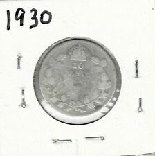 1930 Dime Canada Silver Ten Cents King George V (1) - Free Shipping!