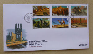 2016 JERSEY CENTENARY WWI SET OF 6 STAMPS FDC FIRST DAY COVER