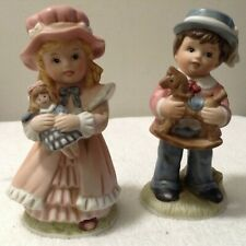 Homco Victorian Girl and Boy Collectible Vintage Porcelain Figurines Set #1419