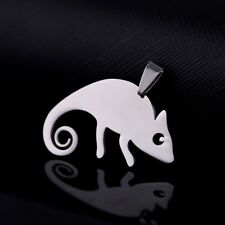 Stainless Steel Chameleon Lizard Pet Charm Pendant + Chain Necklace