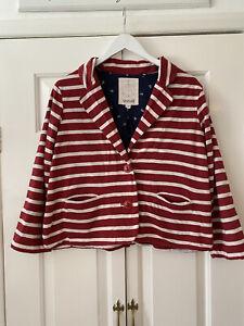 Seasalt Jacket UK 14 Red Stripe Box Fit Blazer Bodinnick Lightweight Jersey