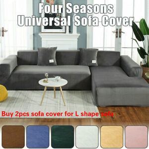 Plush Sofa Cover Velvet Elastic Leather Corner Sectional Couch Covers L Shape