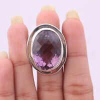 Handmade 925 Solid Sterling Silver Jewelry Amethyst Solitaire Ring Size 9