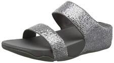 NEW FitFlop Silver Lulu Superglitz Slide Sandals, Women Size 11