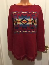 Jones New York NY Boat Neck Tunic Sweater Red Aztec PS Petite S NWOT