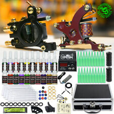 Tätowierung Komplett Tattoo Kit Set 2 Tattoomaschine Farben inks Netzgerät Box