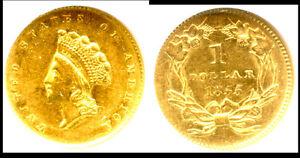 1855 G$1 AU58 NGC-TYPE 2 GOLD DOLLAR