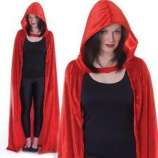 Red Riding Hood Velvet Hooded Cloak Cape Long Vampire Halloween Fancy Dress