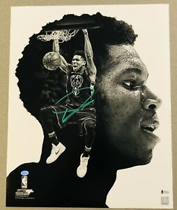 Giannis Antetokounmpo signed Milwaukee Bucks autographed NBA 16x20 photo BAS COA