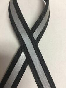 "5/8"" Black Reflective Stripe Grosgrain Ribbon - 1/4"" 3M Silver Reflective"