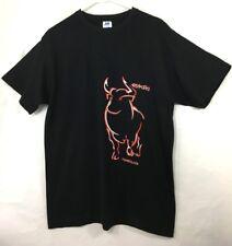 Mens Bull Graphic Tee T-Shirt Sz L Espana Torremolinos Short Sleeve Black Red