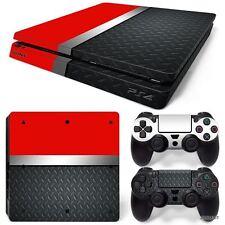 PS4 Slim Playstation 4 Console Skin Decal Sticker Red Metal Custom Design Set