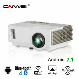 LED 1080p Android 7.1 Projektor Smart Wifi Blue tooth HD Video Film HDMI LCD USB