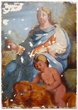 Peinture Fixé sous verre du 17e siècle Lion Reine Princesse Sainte 17th century