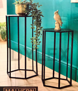 Set of 2 Side Lamp Plant Table Hall Lamp Furniture Living Room Hexagon Design