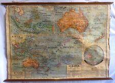 VINTAGE ROLL SCHOOL MAP OCEANIA ANTIQUE POSTER 137x100Cm CARTEL Circa 1950