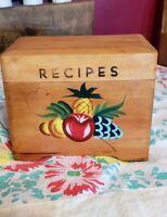 Vintage Japan Painted Wood Wooden Recipe Box Handpainted Fruit MCM