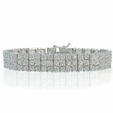 Sterling Silver Finish Natural Sets 3-Row Tennis Bracelet Lab Diamond in Brass
