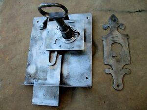 Antique Door Iron Lock Key Locking & Cover Plate Key Hole Old Blachsmith Made