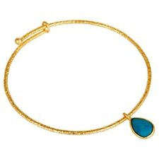 18k Yellow Gold Plated Sterling Silver Turquoise Openable Fashion Bangle