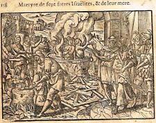 "Leclerc's Bible Figures - Woodcut - ""MARTYRDOM OF SEVEN ISRAELI BROTHERS"" -1614"