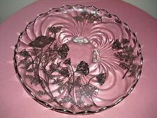 Vintage Large Sterling Silver Overlay Footed Glass Platter- Scalloped Rim 11-1/2
