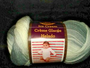 Lion Brand Ice Cream Yarn Cookies & Cream Gray White Patons