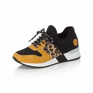 Rieker N7671-69 Yellow / Leopard Sneaker Trainer
