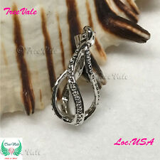 Twisted Rainy Drop Pearl Cage Pendant - Silver Plated Fit Up To 8mm Fun Gift!!
