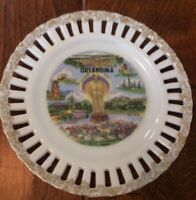 """6"""" Porcelain Decorative Plate Gold Gild Scalloped Cutout Oklahoma Will Rogers"""