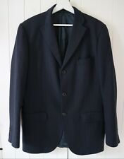 Aquascutum Navy Blue Herringbone Wool & Cashmere Blazer Jacket Chest Size 40 R