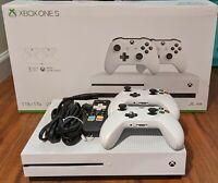 Microsoft Xbox One S 1TB 4K Blu-Ray Console + 2 White XBox Controllers