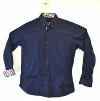 Jared Lang Men's L Button Down Long Sleeve Shirt Plaid Collar Cuff Blue Navy Red