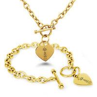 Stainless Steel Sacred Lotus Unalome Symbols Heart Charm Bracelet, Necklace, Set