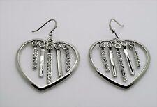 Clear stone Fashion Pierce Earring C338 Chic heart shape Rhodium Plated