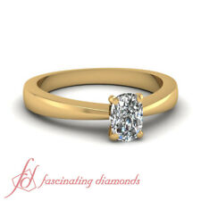 Tapered Style Solitaire Engagement Ring For Women 1/2 Ct Cushion Cut Diamond GIA