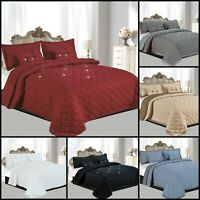 Diamond Reversible 5 Pcs Quilted Bedspread Comforter Throw Bedding Set All Sizes